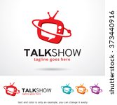 talk show logo design template  | Shutterstock .eps vector #373440916