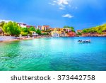 assos beach in kefalonia  greece | Shutterstock . vector #373442758
