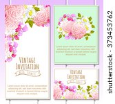 invitation with floral... | Shutterstock . vector #373453762