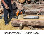 chainsaw blade cutting log of... | Shutterstock . vector #373458652