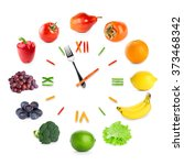 food clock with fruits and... | Shutterstock . vector #373468342