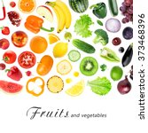 fruits and vegetables on white... | Shutterstock . vector #373468396