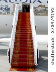 Small photo of SAKHIR AIRBASE, BAHRAIN - JANUARY 21: Static display of Saudi gulf airlines A320 with carpeted entrance in Bahrain International Airshow at Sakhir Airbase, Bahrain on 21 January, 2016