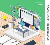 vector e learning concept in... | Shutterstock .eps vector #373476922