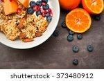 healthy home made breakfast of... | Shutterstock . vector #373480912