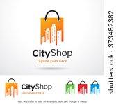 city shop logo design template  | Shutterstock .eps vector #373482382