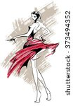 sketch. fashion girls   Shutterstock .eps vector #373494352