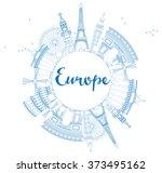 famous landmarks in europe.... | Shutterstock . vector #373495162