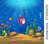 undersea with fish. marine life ... | Shutterstock .eps vector #373503052