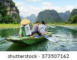 tourists traveling in boat... | Shutterstock . vector #373507162