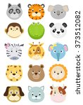set of animals faces icons.... | Shutterstock .eps vector #373512082