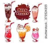 set of different milkshakes.... | Shutterstock .eps vector #373524355