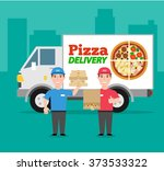 pizza delivery company pizza... | Shutterstock .eps vector #373533322