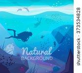 underwater diving infographics...   Shutterstock .eps vector #373534828