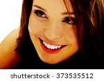 young cheerful smiling woman. | Shutterstock . vector #373535512