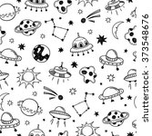 space seamless pattern. ufo... | Shutterstock .eps vector #373548676