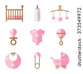 baby icons isolated on white... | Shutterstock . vector #373549972