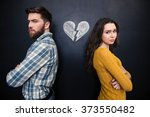 unhappy young couple standing...   Shutterstock . vector #373550482