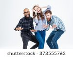 group of students in casual... | Shutterstock . vector #373555762