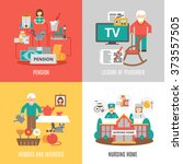 pension hobbies and interests... | Shutterstock .eps vector #373557505