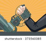 arm wrestling with a robot. the ... | Shutterstock .eps vector #373560385