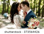 happy smiling stylish bride and ... | Shutterstock . vector #373564426