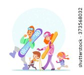 cute cartoon family walking...   Shutterstock .eps vector #373568032