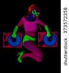 sexy female dj mixes in a club  ... | Shutterstock . vector #373572358