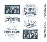set of vintage summer camp... | Shutterstock .eps vector #373583986