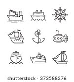 vector black flat boat and ship ... | Shutterstock .eps vector #373588276
