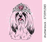 yorkie with a crown on pink... | Shutterstock .eps vector #373591585