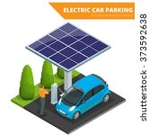 isometric electric car parking. ... | Shutterstock .eps vector #373592638