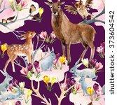 spring forest seamless pattern. ... | Shutterstock . vector #373604542