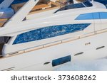 luxury motoryacht in navigation | Shutterstock . vector #373608262