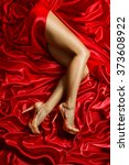 legs shoes high heels on red... | Shutterstock . vector #373608922
