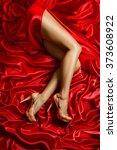 legs shoes high heels on red... | Shutterstock . vector #373608922