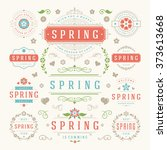 spring typography labels and... | Shutterstock .eps vector #373613668