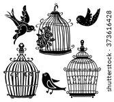 Birds And Cages Set Black...