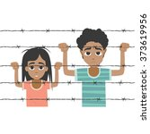 refugee boy and girl behind... | Shutterstock .eps vector #373619956