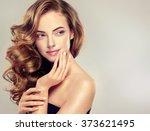 beautiful girl with long wavy... | Shutterstock . vector #373621495