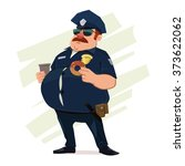 police officer with donuts and... | Shutterstock .eps vector #373622062