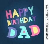 retro happy birthday card on... | Shutterstock .eps vector #373632796