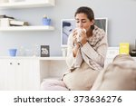 sick woman  flu woman. caught... | Shutterstock . vector #373636276