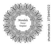 vector black mandala on white... | Shutterstock .eps vector #373644322