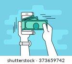 mobile banking. flat line... | Shutterstock .eps vector #373659742