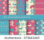 set of vector tribal striped... | Shutterstock .eps vector #373661665