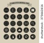 25 hand stitch border vintage... | Shutterstock .eps vector #373662616