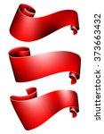red ribbon set | Shutterstock .eps vector #373663432