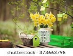 easter decoration with spring... | Shutterstock . vector #373663798