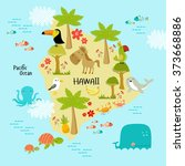 vector map of hawaii with the... | Shutterstock .eps vector #373668886